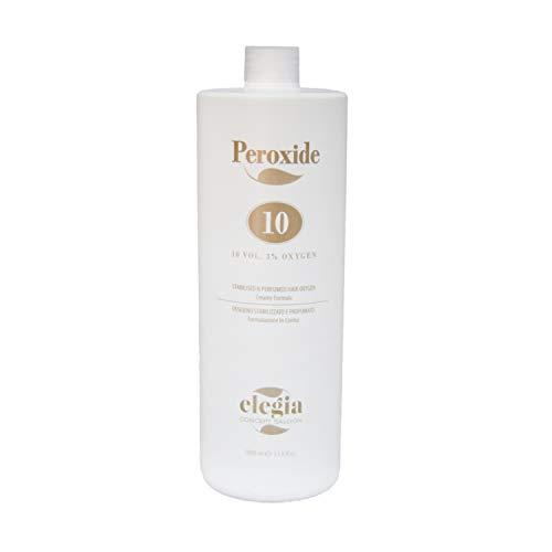 Ossigeno per Capelli Elegia - Emulsione Ossidante in Crema Profumata 10 e 20 Volumi - Per colorazione Capelli Senza Ammoniaca - 1000ml (Volume 10)
