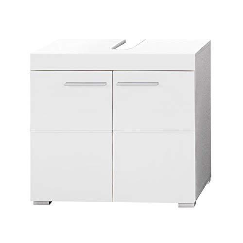 Trendteam Mobili, Derivato del Legno, Bianco/Bianco (Alta lucentezza), 60 x 56 x 34 cm