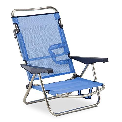 Solenny 50001072720101 – Sedia a Sdraio-Lettino con 4 Posizioni, Blu, con Manici e Gambe Pieghevoli sullo Schienale
