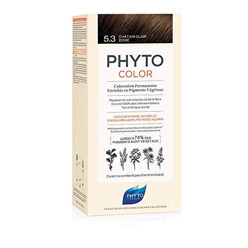 Phyto Phytocolor 5.3 Castano Chiaro Dorato Colorazione Permanente senza Ammoniaca, 100 % Copertura Capelli Bianchi