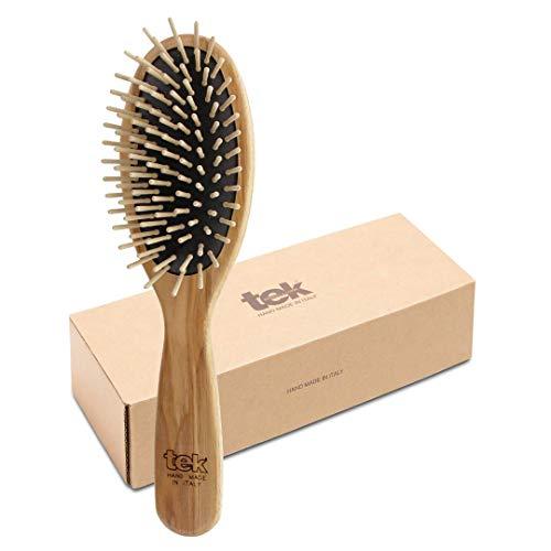 Tek spazzola per capelli ovale grande in legno di frassino con dente corto - Handmade in Italy