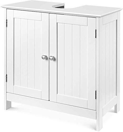 Homfa Armadietto sottolavabo in Legno Mobile da Terra Bagno Cucina autoportante Bianco 2 sportelli 2 Ripiani 60 × 30 × 60 cm