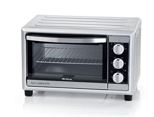 Ariete 985 Bon Cuisine 300 - Forno elettrico ventilato, Dimensioni interne: 50 x 36,5 x 33 cm, 1500W, 6 posizioni cottura, Timer 60', Argento, 30 Litri