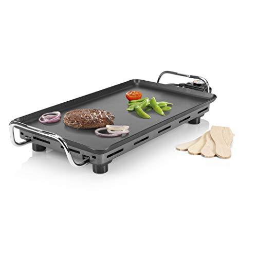 Princess Barbecue da Tavolo Pro 102300, Teppanyaki con griglia piatta 46 x 26 cm, 2000 Watt, Nero