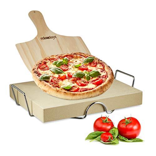 Relaxdays Set per Pizza Completo, Alluminio, Beige, 30x38x5 cm