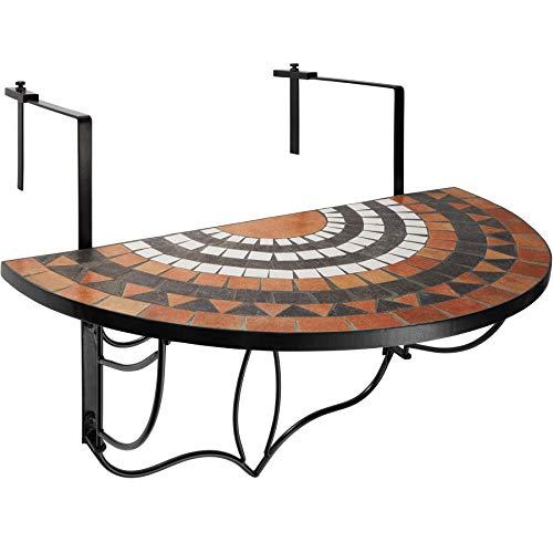 TecTake 800570 Tavolino da Balcone, Mosaico a Ribalta, Piano del Tavolo, in Mosaico di Pietra, Stabile Costruzione - Disponibile in Diversi Colori (Terra-Bianco   No. 402774)