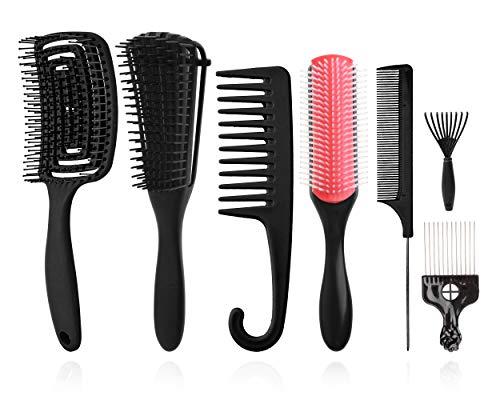 Set di 8spazzole districanti,9file di ammortizzatori Spazzola per shampoo in setola di nylon/Spazzola per capelli ventilata per separare modellare e definire ricci Capelli bagnati/asciutti Afro (nero)