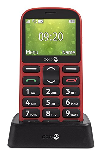 Doro 1361 Telefono Cellulare 2G Dual SIM per Anziani con Fotocamera, Pulsante d'Emergenza e Base per Ricarica (Rosso) [Versione Italiana]