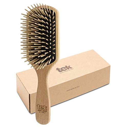 Tek spazzola per capelli rettangolare grande in legno di frassino con dente lungo - Handmade in Italy