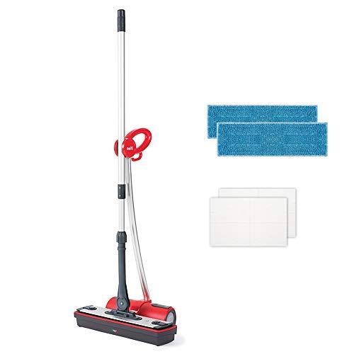 Polti Moppy Red Lavapavimenti a Vapore Cordless per Tutti i Pavimenti e le Superfici Verticali Lavabili, rimuove ed elimina il 99,9%* di virus, germi e batteri