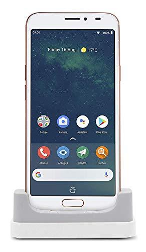 Doro 8080 Smartphone 4G Semplificato per Anziani con Display da 5.7', Fotocamera da 16 MP, WhatsApp, Facebook, GPS, Lettore Impronte Digitali e Base di Ricarica (Bianco) [Versione Italiana]