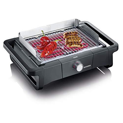 Severin PG 8109, Barbecue Elettrico Home, Temperatura fino a 300°C in 10 Minuti, Safe Touch, Manopola con Luce LED, Griglia in Acciaio Inossidabile, 2300 W, Nero