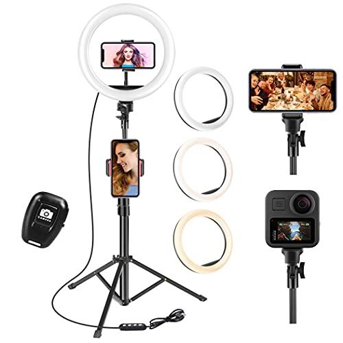 UPhitnis Ring Light, Luce per Selfie 10 pollici, 63' staffa triangolare, Luce ad Anello LED da 3 modalità di illuminazione con 10 luminosità, per trucco, fotografia, Youtube e video selfie