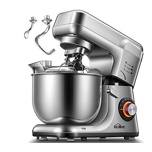 Impastatrice Planetaria, 1200W Kealive Robot da Cucina Doppia Gancio Impastatore, 8 Velocità Basso Rumore Multifunzione Mixer, Contenitore in Acciaio Inox da 5 Litri, Protezione da Spruzzi