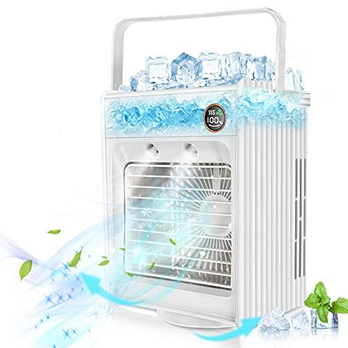 Jeteven Condizionatore D'aria Mobile, Rotazione di 180° Condizionatori Portatili, Mini Dispositivo di Raffreddamento Dell'aria 5 in 1, Refrigerazione, Umidificazione Spray, Aromaterapia, LED