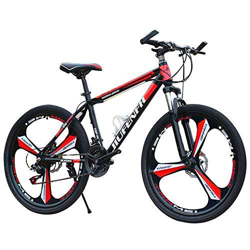 Mountain Bike, Bicicletta Sportiva da Montagna da 24 pollici a 21 velocità, telaio in acciaio al carbonio, sospensione forcella anteriore con funzione di bloccaggio, freni a doppio disco (rosso)