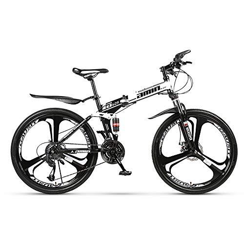 HDM Mountain Bike Pieghevole per Uomini e Donne Adulti, Bicicletta Sportiva da Montagna, MTB con 21/24/27-Stage Shift, 26 Pollici 3 Taglierina, Bianco (24 Marce,B)