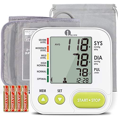 Misuratore di Pressione da Braccio Digitale, 1byone Sfigmomanometro da Braccio Pressione Arteriosa e Battito Cardiaco, Bracciale 22-42 cm, Schermo LCD, 2 * 99 Posizioni di Memoria, 4 Batterie incluse