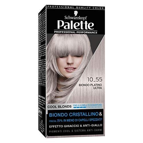 Schwarzkopf Palette Professional Performance,Cool Blonds Colorazione Permanente per Capelli, Tinta per Capelli, Copertura dei Capelli Bianchi, Schiarisce e Colora, Tonalità 10-55 Biondo Platino Ultra