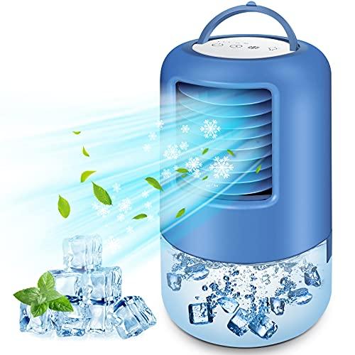 BILIFIT Condizionatore Portatile, 4 In 1 Climatizzatore, Ventilatore, Umidificatore, Mini Raffreddatore D'Aria Con 7 Luci Led, 3 Velocità, 2/4H Timer, Aria Condizionata Portatile Per Casa e Ufficio