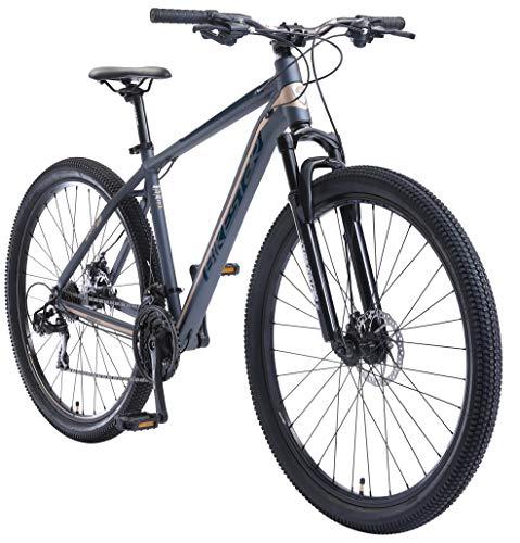 BIKESTAR Hardtail Mountain Bike in Alluminio, Freni a Disco, 29' | Bicicletta MTB Telaio 19' Cambio Shimano a 21 velocità, sospensioni | Blu Marrone
