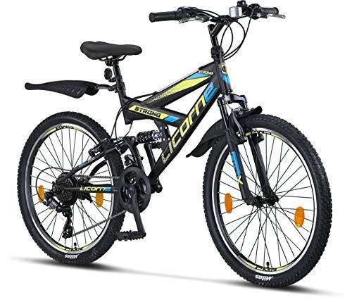 Licorne Bike Premium Mountain Bike Strong da 24 pollici, bicicletta per ragazzi, ragazze, donne e uomini, con cambio Shimano a 21 marce, sospensioni complete, Uomo, Nero/Blu/Lime, 24 inches