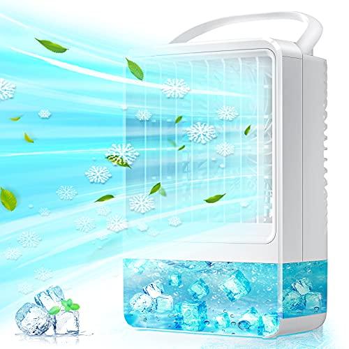 Raffreddatore D'aria, EEIEER 4000mAh USB Climatizzatore Condizionatore d'aria Portatile 4 IN 1 Evaporativo Umidificatore Purificatore Condizionatori Portatili,per Casa Camera da Letto Ufficio Esterno